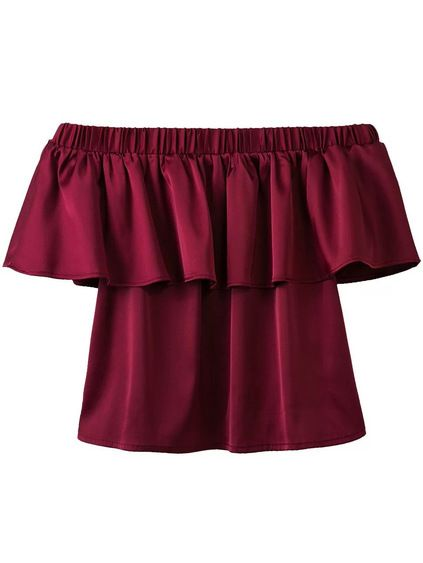 Burgundy Off The Shoulder Ruffle Blouse Mobile Site