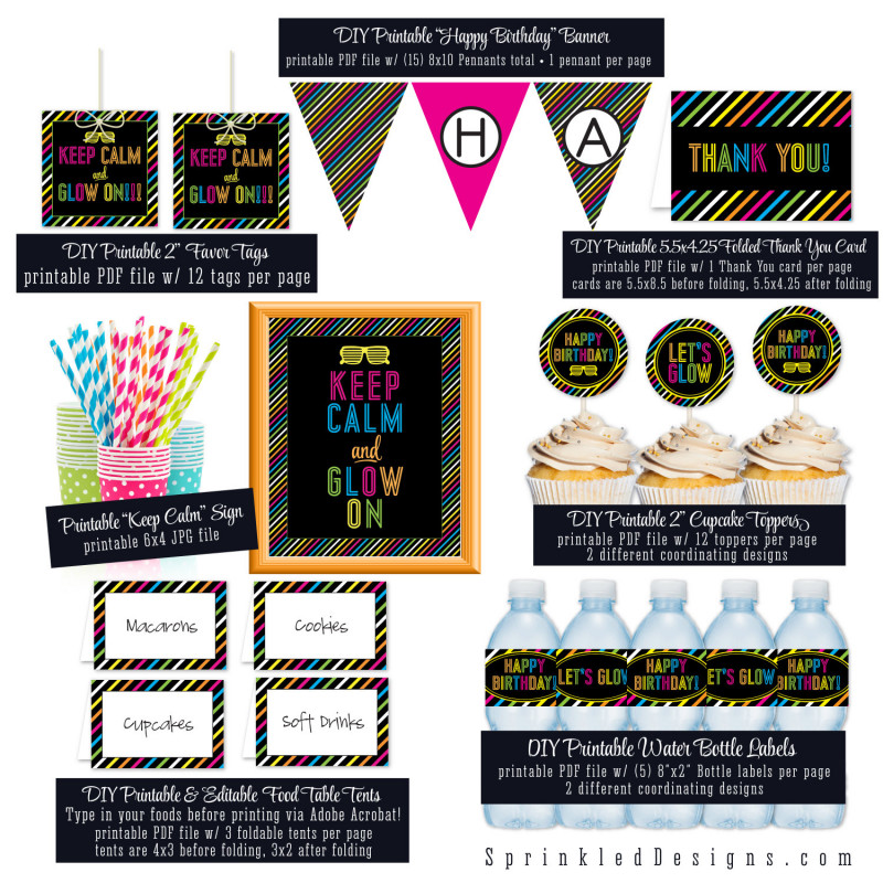 Diy Wine Label Template Awesome Printable Neon Glow Birthday Party Pack Banner Cupcake Topper Bottle Wra In 2020 Glow Birthday Party Glow Birthday Birthday Party Packs