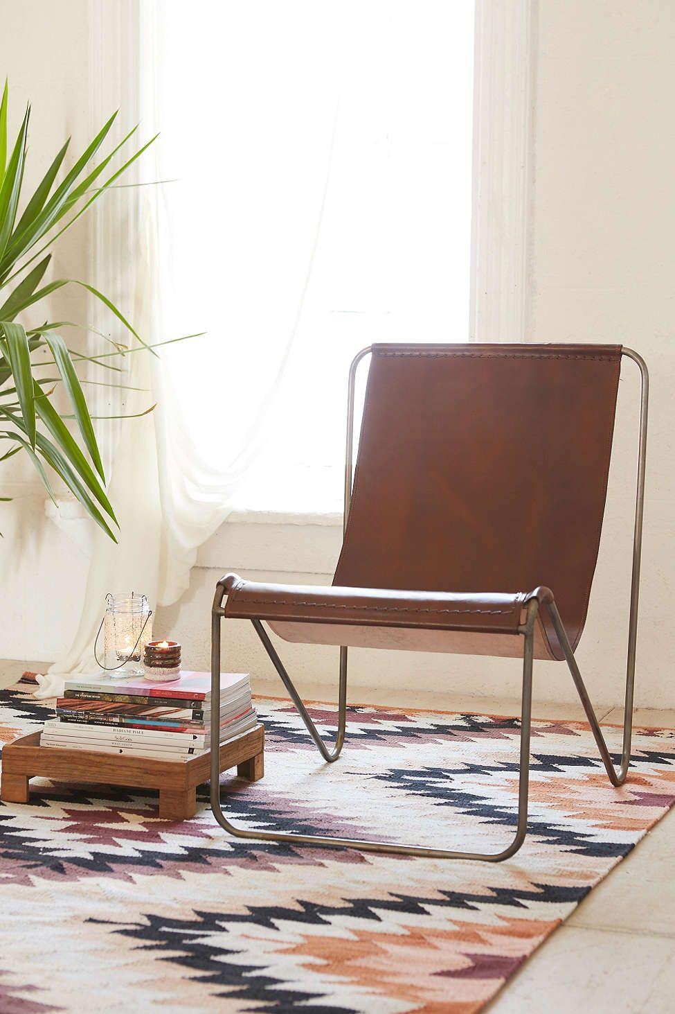 Maddox Leather Sling Chair Mobilier De Salon Decoration Interieure Mobilier