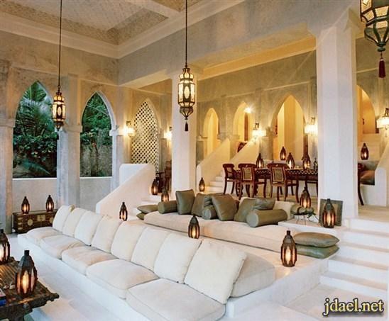 ديكورات مجالس عربية فخمة جبس اضاءة ارضية توزيع الاثات منتدى جدايل Moroccan Interiors Moroccan Living Room House Design