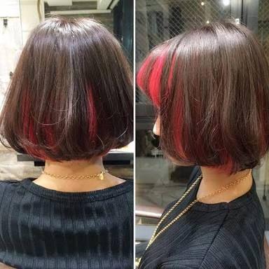 インナーカラー 赤 の画像検索結果 髪 色 ボブ ヘアカラー ヘアカラー