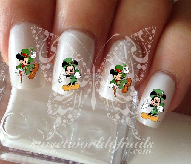 Saint Patrick\'s Day Mickey Mouse Nail Art Nail Water Decals | Uña ...