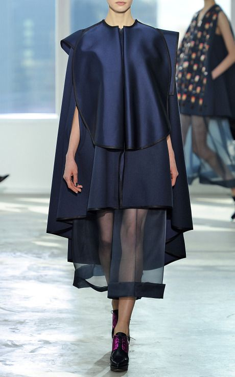 DELPOZO Organza Pant With Side Pleats Double-Sided Cape With Hood FALL/WINTER 2014