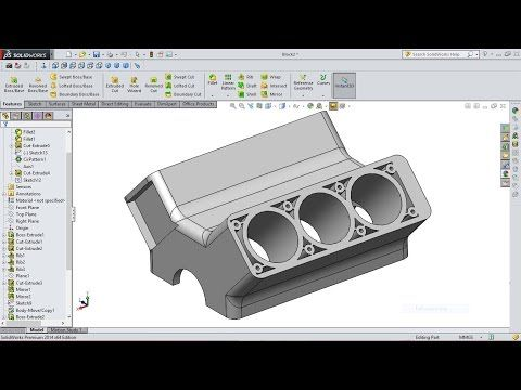 SolidWorks Tutorial Engine Block - YouTube | Solidworks tutorial in
