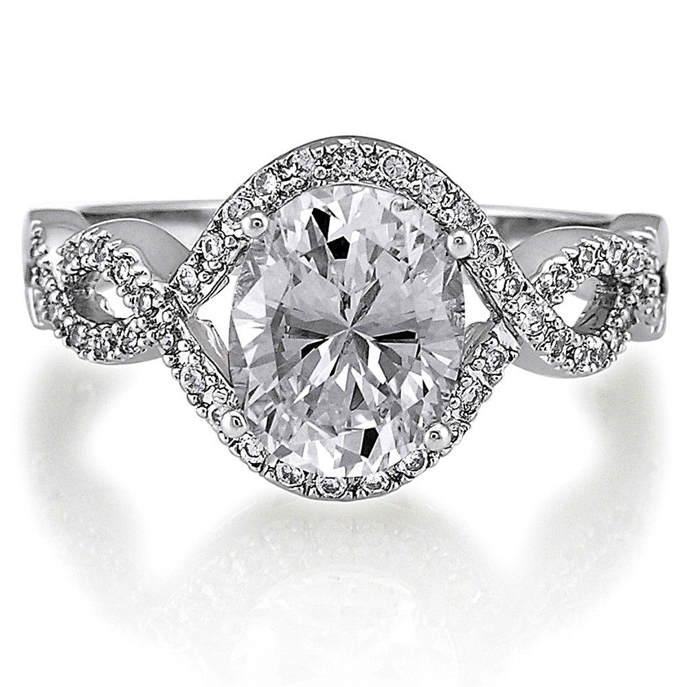 Sterling Silver Oval CZ Solitaire Woven Ring 2.33 CTW