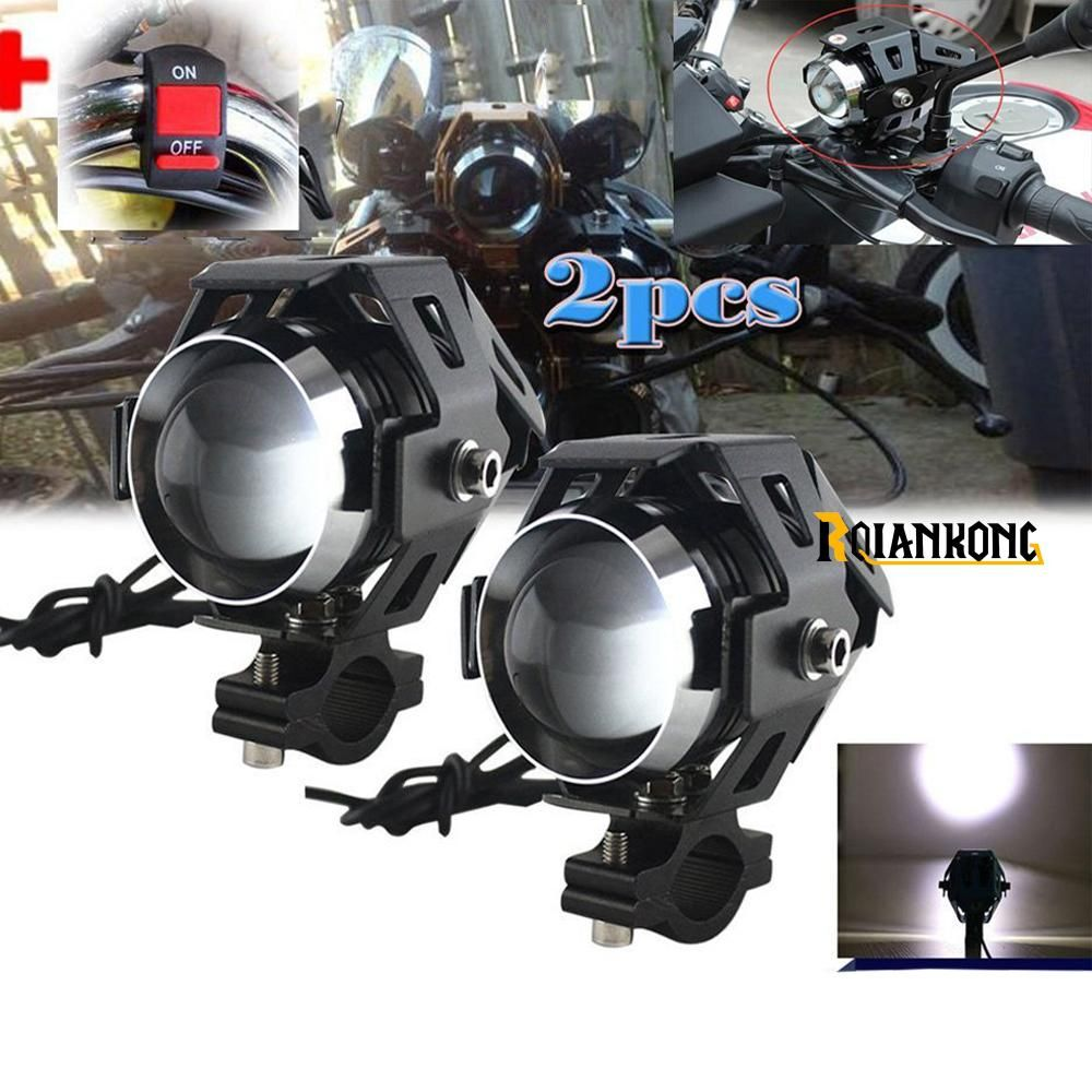 12v Motorcycle Metal Headlight Driving Spot Head Lamp Fog Light For