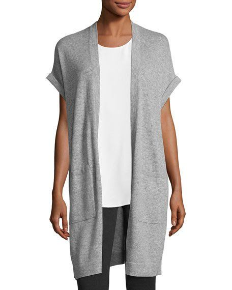 Cashmere Short-Sleeve Long Vest, Gray | Cardigans | Pinterest ...