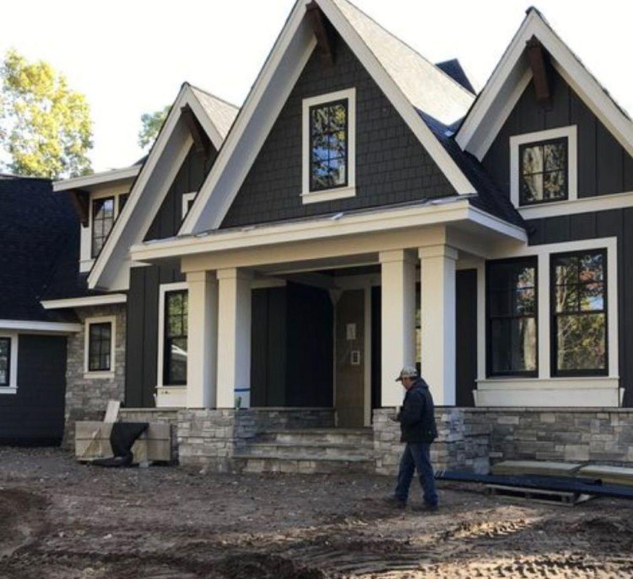Dark Blue House With White Trim Black Windows House Exterior
