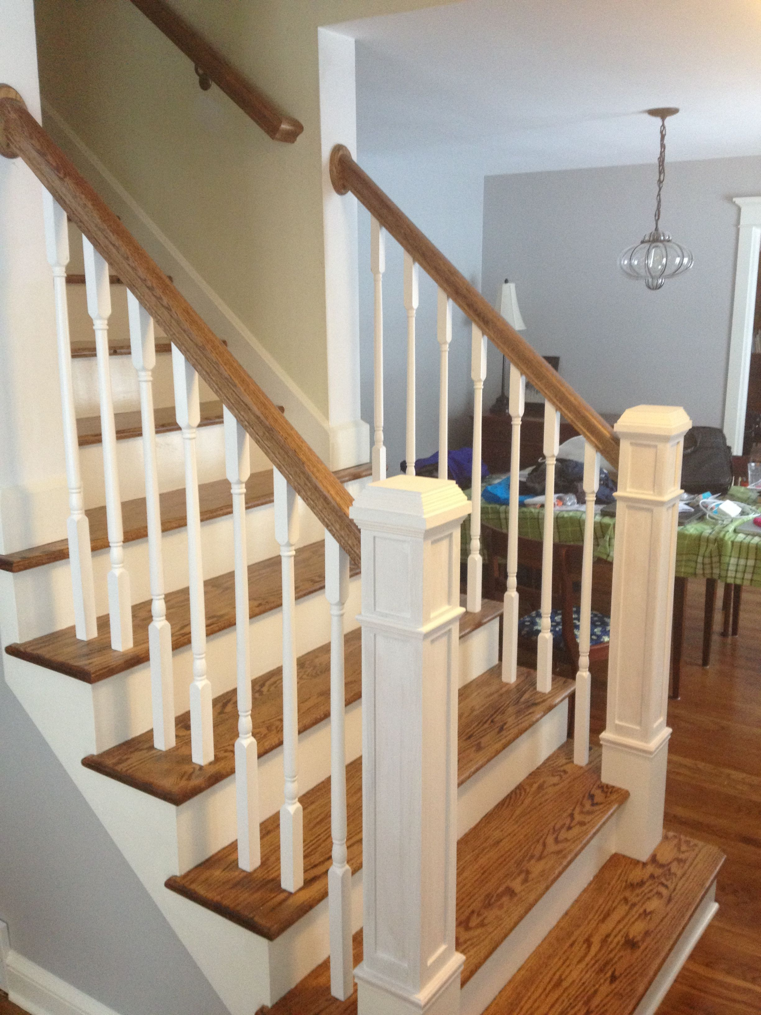 Newel Post Redo Refinished The Stairs Painted The Risers And