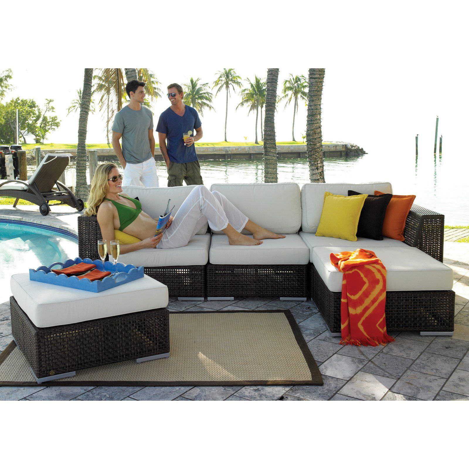 Amazing Outdoor Hospitality Rattan Soho 5 Piece Deep Seating Home Remodeling Inspirations Propsscottssportslandcom
