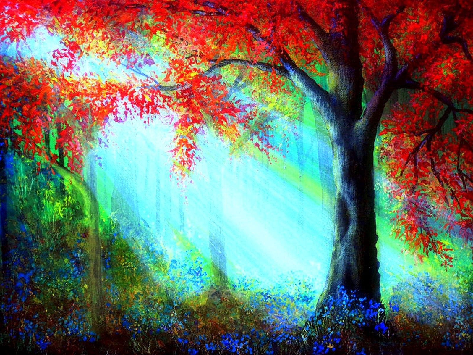 Rays Light Autumn Colorful Paintings Traditional Art Love