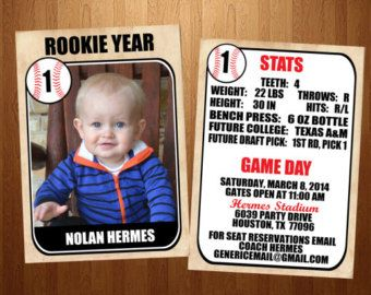 5x7 Rookie Of The Year Vintage Baseball Card First Birthday Invitation Front And Back