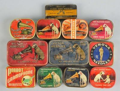 Needle tins for phonographs.