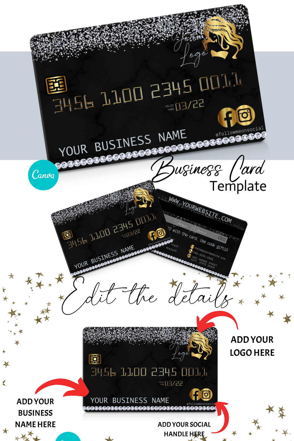 Diy Diamond And Gold Credit Card Business Cards Canva Template Business Card Design Appointment Card Loyalty Card Instant Access Business Credit Cards Small Business Credit Cards Beauty Business Cards