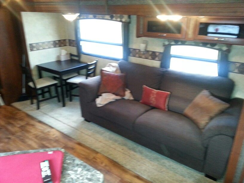 rv remodel replaced booth dinette and jack knife sofa with a table rh pinterest com