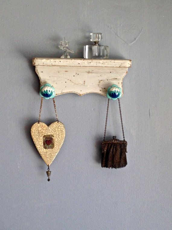 Shelf Wood Wall Hanging Recycled Painted Shabby Chic by PippinPost, $16.00