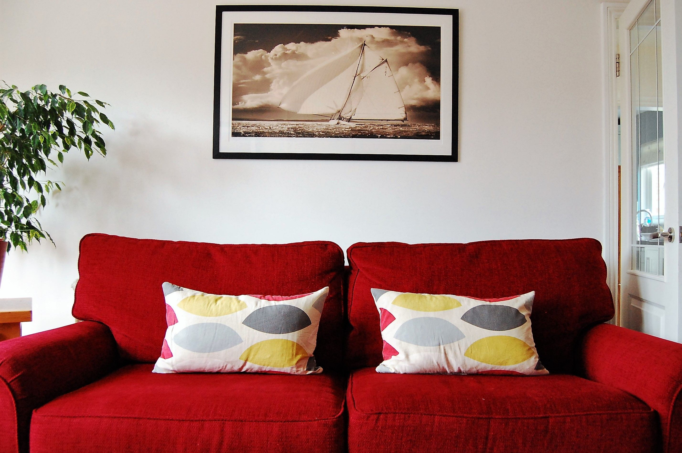 Red Sofa With Grey And Yellow Cushion Red Sofa Red Living Room