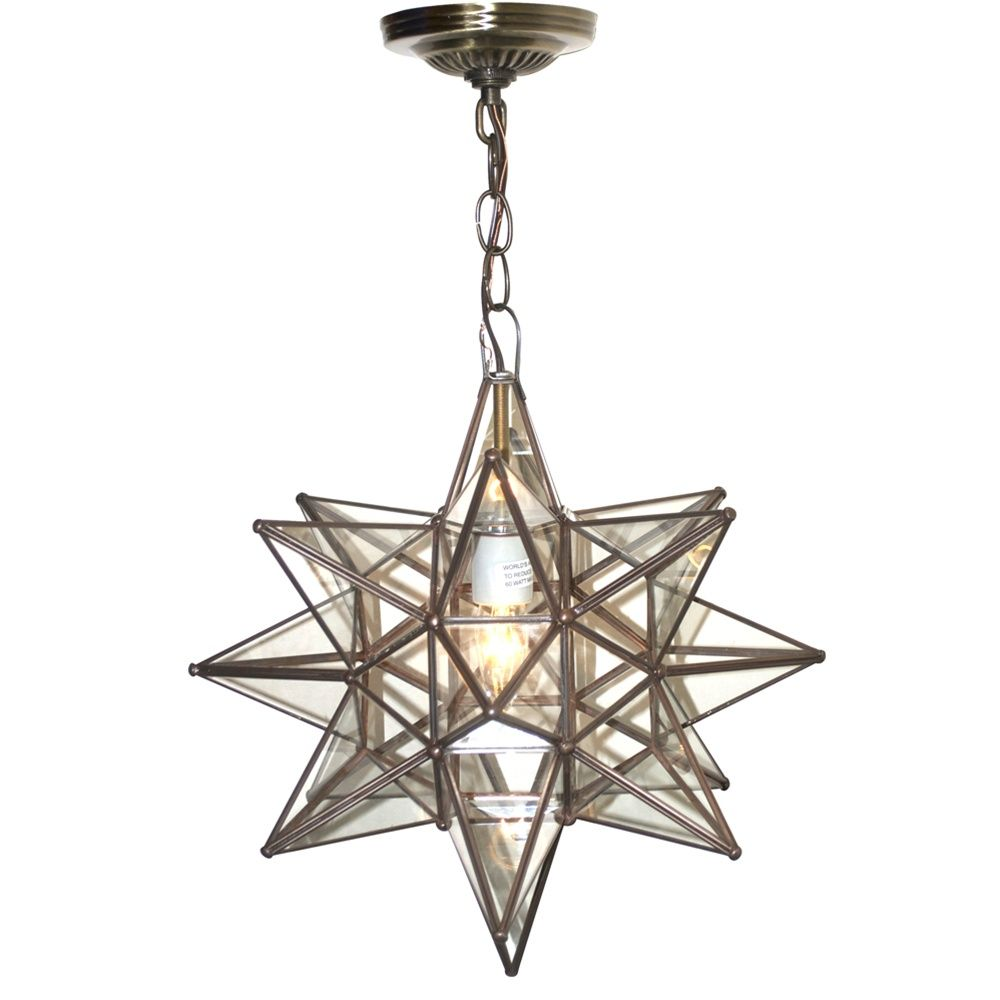 Worlds Away Moravian Star 12 Inch Pendant Chandelier Small Clear Glass Acs110 Star Pendant Lighting Star Lights On Ceiling Foyer Lighting Fixtures Entryway