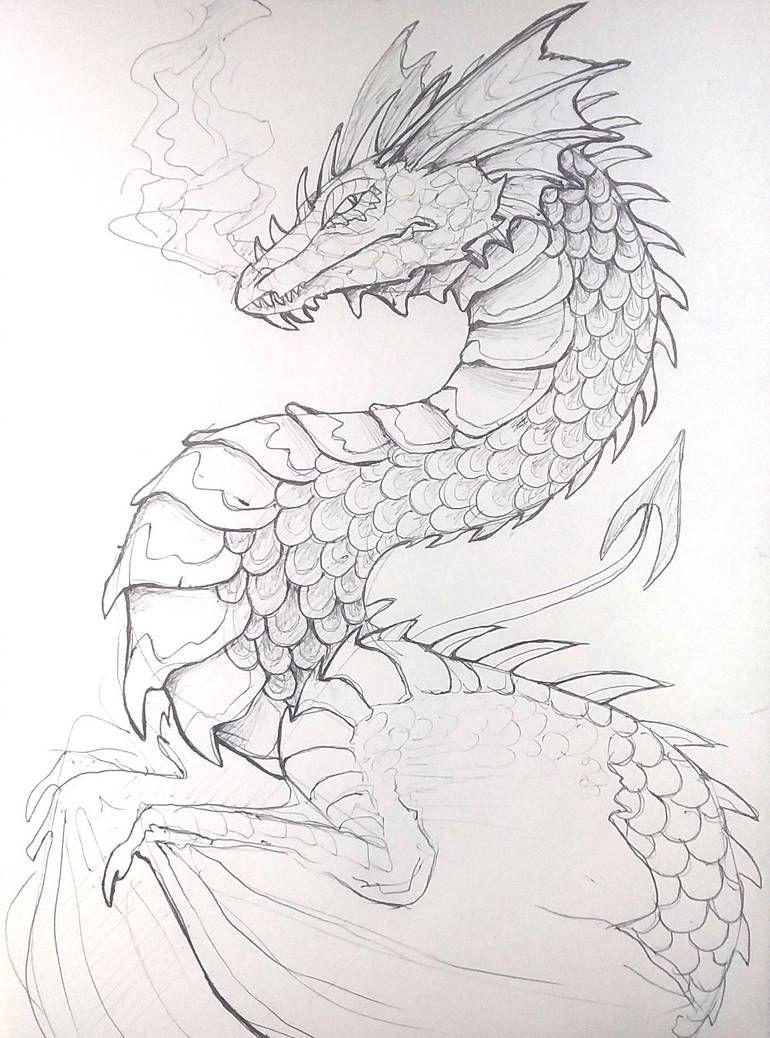 Pen Dragon By Lucieniibi Dragon Sketch Dragon Art Dragon Drawing