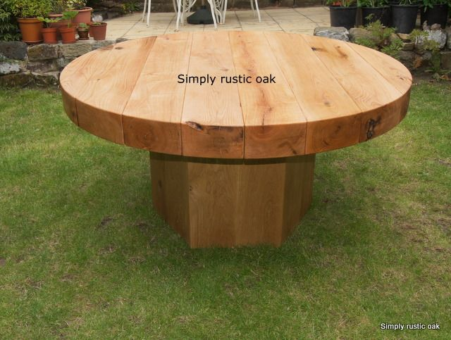 Garden Furniture Handmade robrgt - rustic oak beam round garden table | mesas | pinterest
