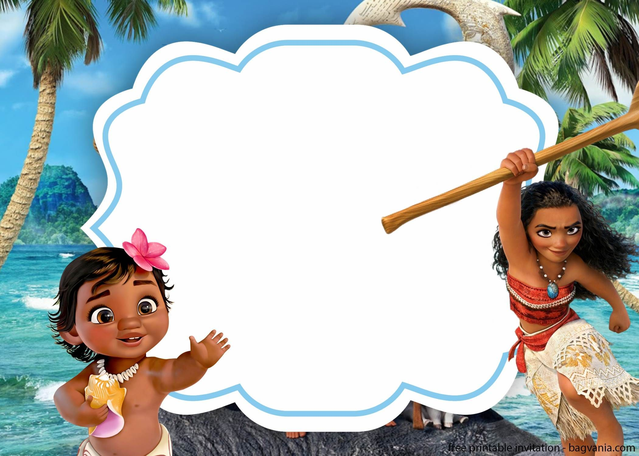 FREE Baby Moana with Photo Baby Shower invitation template  Moana