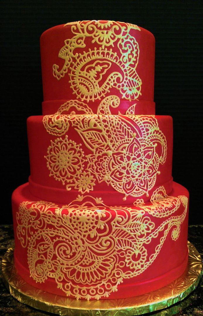 Red Gold Indian Henna Wedding Cakes Bmc Wedding Cakes Cake