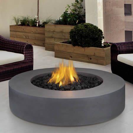 Mezzo round fire table grey int rieur foyer brasero - Table accroche balcon ...