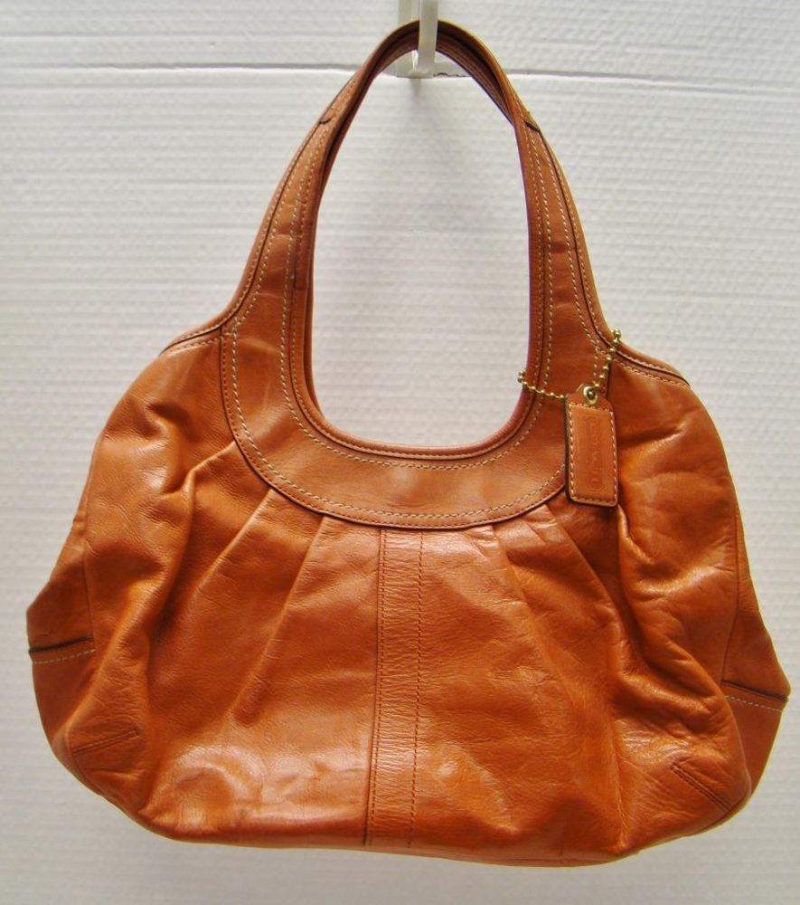 Coach 12248 Burnt Orange Poppy Pebbled Leather Ergo Framed Satchel Handbag Purse