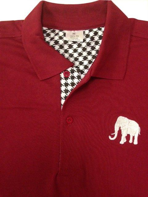 4fedd1e9b S S Alabama Elephant Polo w  Houndstooth Trim - Crimson  50.00 ...