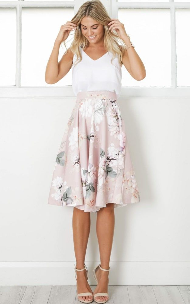 ecdeebc894 Whirlwind Midi Skirt In Blush Floral | Clothing | Midi skirt, Skirts ...