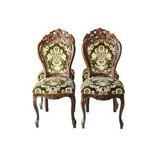 Victorian Upholstered Walnut Chairs - Set of 4
