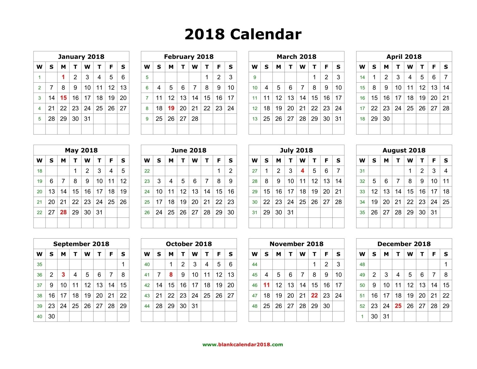 Calendar Printable Yearly  Calendar Blank Landscape