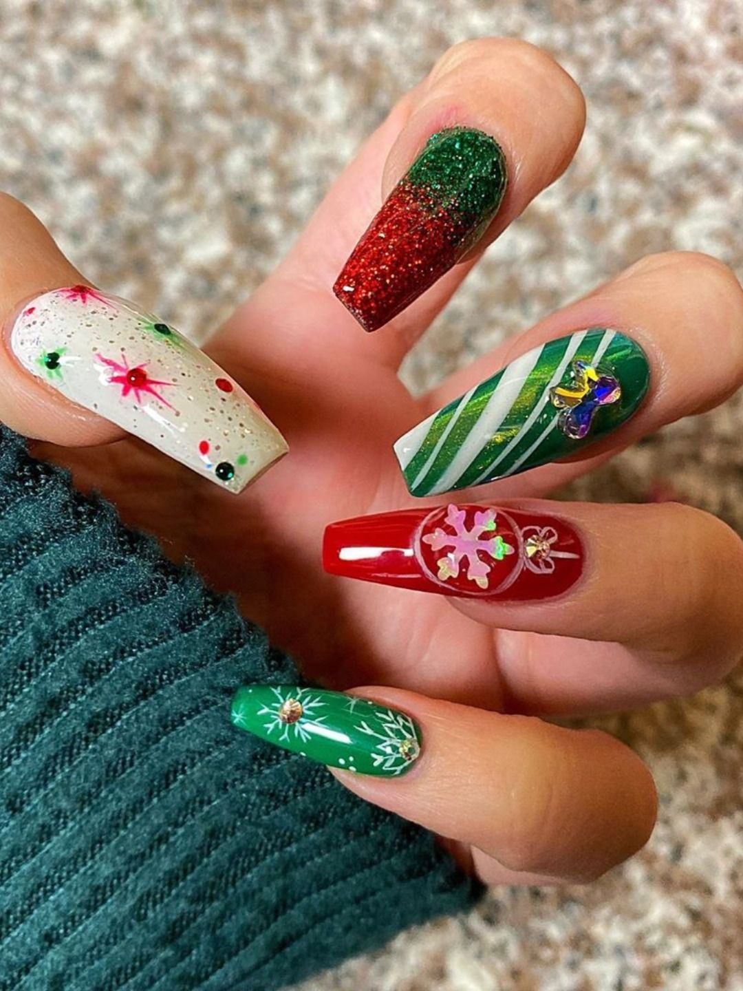 Red And Green Christmas Nails : green, christmas, nails, Cutest, Festive, Christmas, Designs, Celebration, Nails, Acrylic,, Designs,