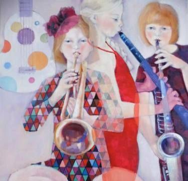 musiciennes en herbe (budding musicians) Painting | Painting, Art,  Figurative art