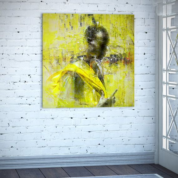 Africa canvas print Africa painting African Square Africa Yellow ...