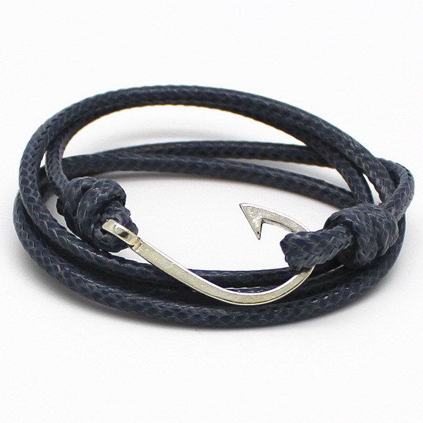 New Design Fashion Charm Hand Woven Fish Hook Bracelet Jewelry Leather Rope Alloy Geometry Bracelets For Women 2017