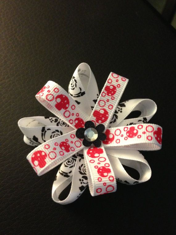 Black white and red girls hair bow by MelBelleBoutique on Etsy, $5.00