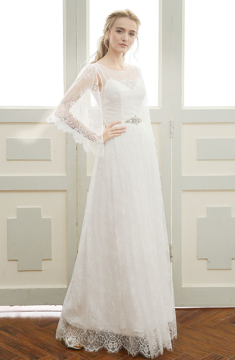 Romantic aline scoop neck floorlength bohemian lace wedding dress