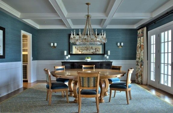 dining room: coffered ceiling, grasscloth wallpaper and