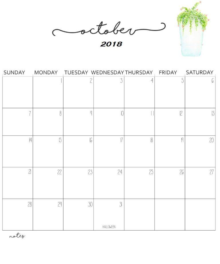 Printable 2018 October Calendar Calendar Template Calendar