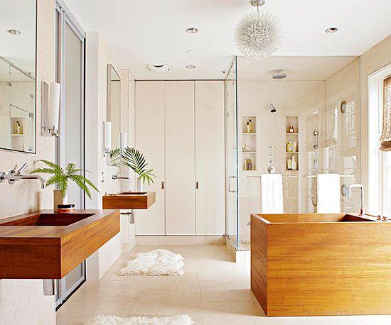 Simple Nature-Inspired Bathroom | Beautiful Bathrooms | Teak ... on nature inspired dining rooms, nature inspired engagement rings, nature inspired home decor,