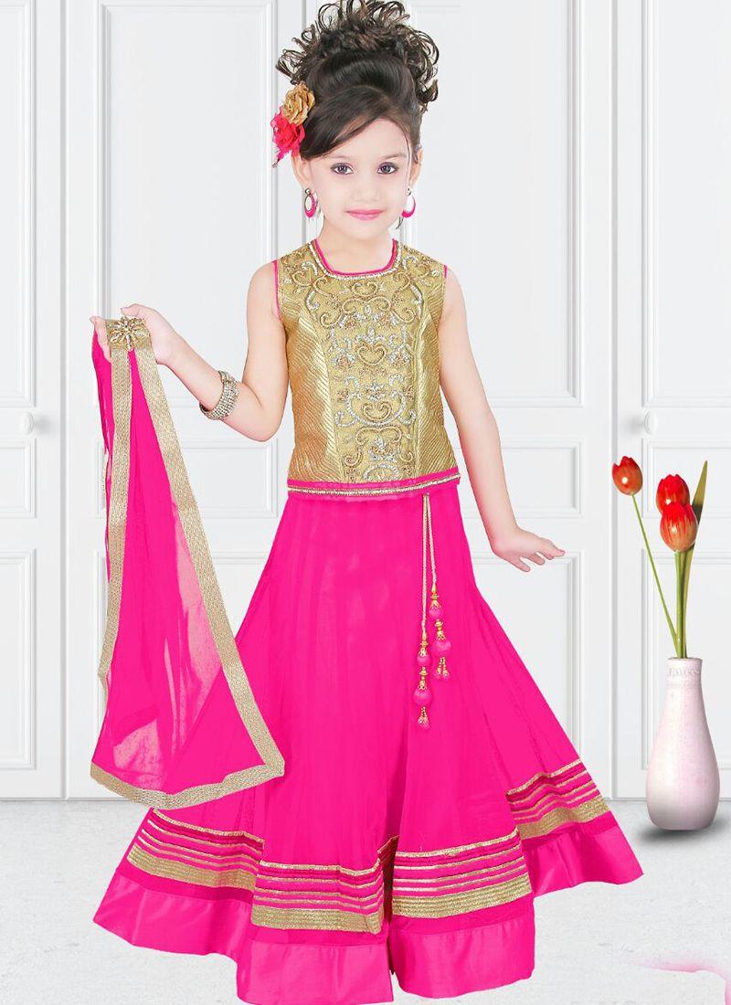 Lustrous Pink Net Designer Kids Wear Lehenga Choli Kids