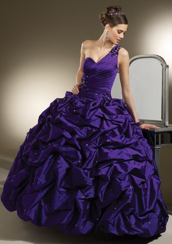Dark Purple Wedding Gowns One Shoulder | room design ideas ...