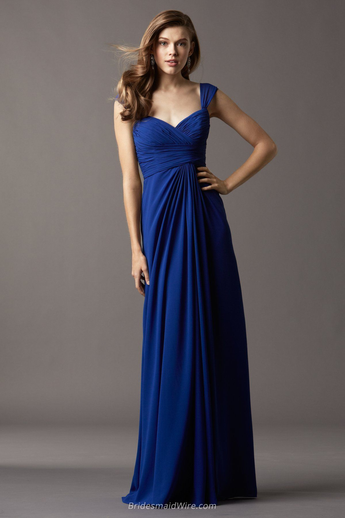 Cap sleeve floor length long royal blue chiffon draped bridesmaid cap sleeve floor length long royal blue chiffon draped bridesmaid dress ombrellifo Image collections