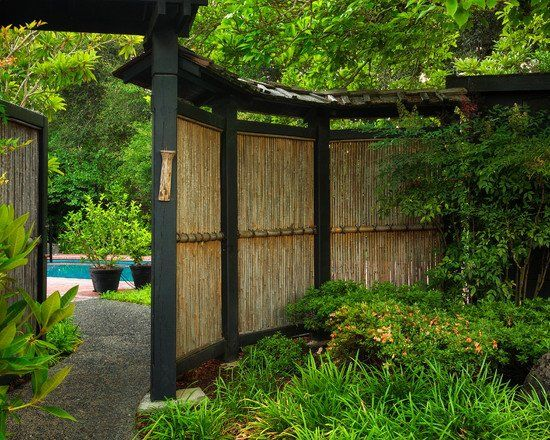 Japanese Style Bamboo Front Yard Garden Fence Ideas