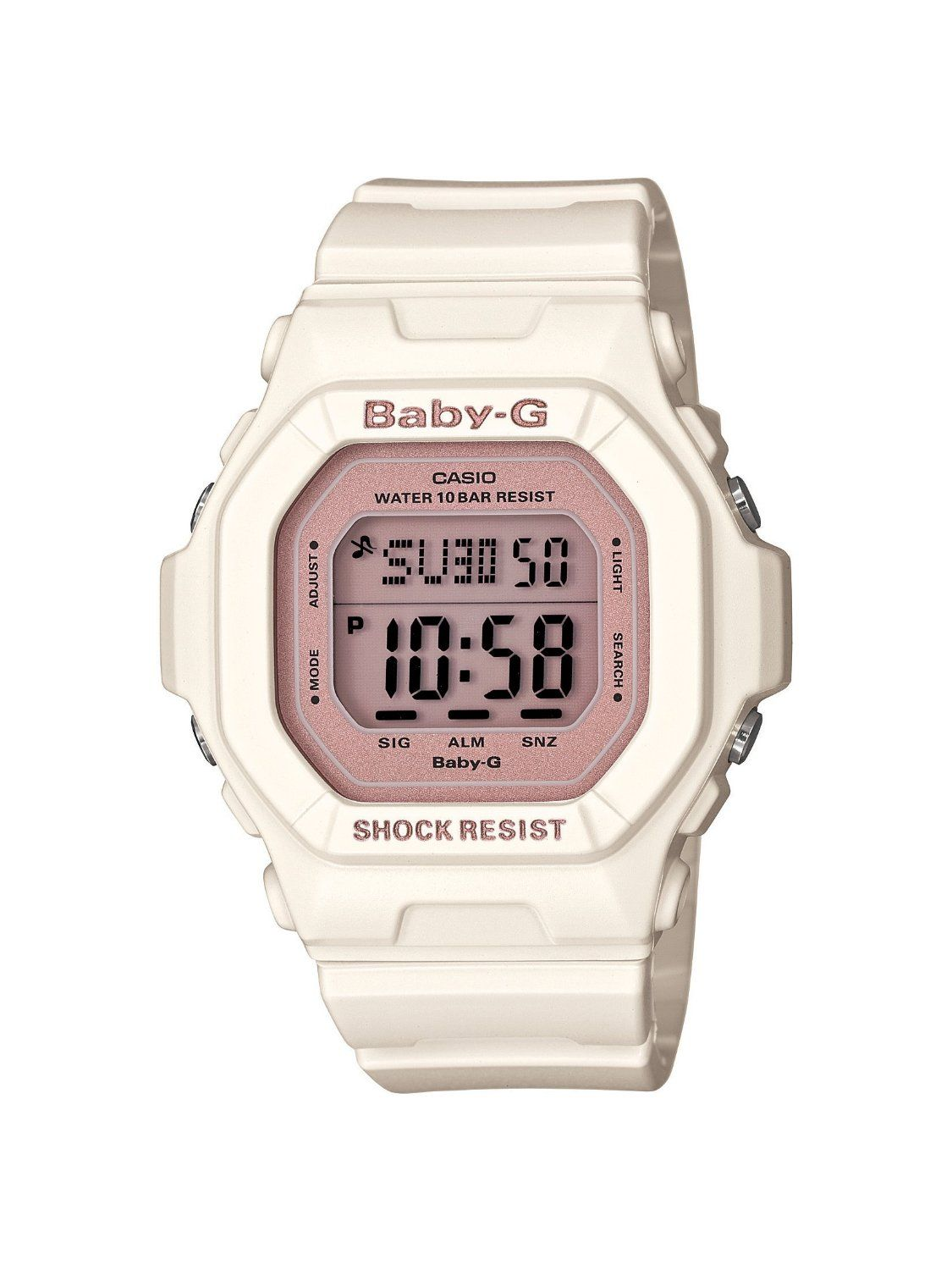 Montre Casio Couleur Or pour casio women's bg5606-7b baby-g rose gold and white resin digital