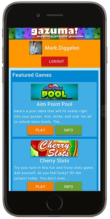 Gazuma.com - Apple iPhone view - a fully responsive HTML5 mobile gaming platform