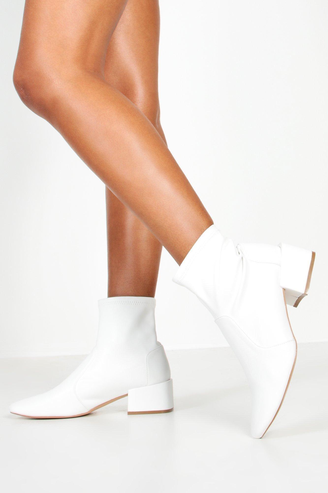 Wide Fit Block Heel Sock Boots | boohoo