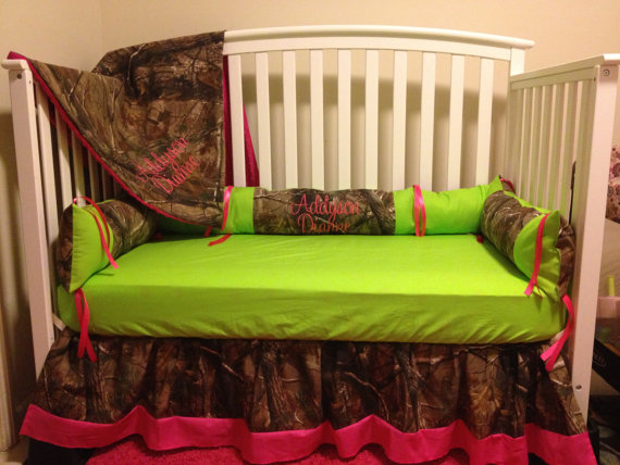 Camo RealTree With Lime & Pink Baby Crib By LIZSSTITCHESdotCOM, $259.00