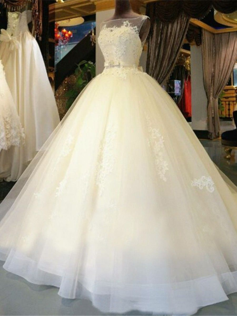 Ball Gown Illusion Neckline Lace Wedding Dresses Bridal Gowns ...